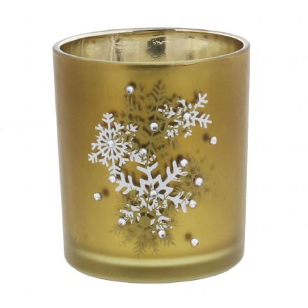 Gold Christmas Tea Light Holder with Snowflake Design